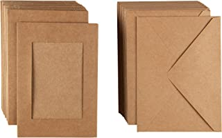 Photo Insert Note Cards - 48-Pack Paper Picture Frames Cards and Envelopes, Kraft Paper Photo Mats, Perfect for Inserting and Sending Memorable Documents, Kraft, Holds 4 x 6 Inches Inserts