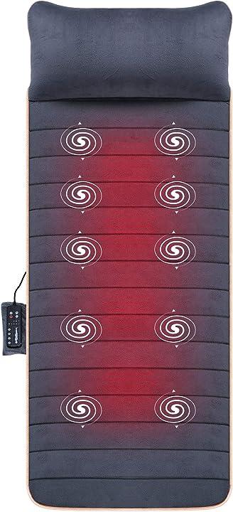 Materesso riscaldato massaggiante con 10 motori a vibrazione per rilassamento di tutto il corpo - snailax SL-363-DE