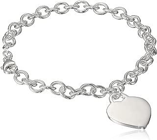 Sterling Silver Heart Tag Bracelet, 7.5