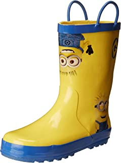 Despicable Me Kids Rain Boots with Easy-On Handles, Fluffy the Unicorn and Minions, Waterproof, Ages 2 to 9