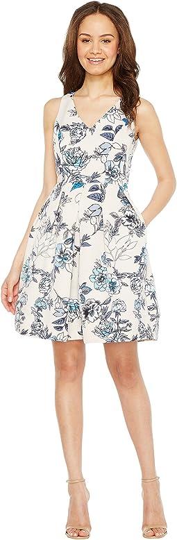 Floral X-Back Fit & Flare Dress