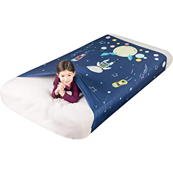 FRIENDLY CUDDLE Sensory Compression Sheet for Kids, Twin Size Stretchy Bed Sheet with Breathable Fabric, A Smart Weighted Blanket Alternative, Mattress Fitted Bedding, Little Astronaut Design