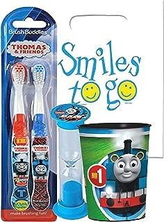 Thomas & Friends 4pc Bright Smile Oral Hygiene Bundle! Thomas the Train 2pk Manual Toothbrush, Brushing Timer & Mouthwash Rinse Cup! Plus Dental Gift Bag & Tooth Saver Necklace!