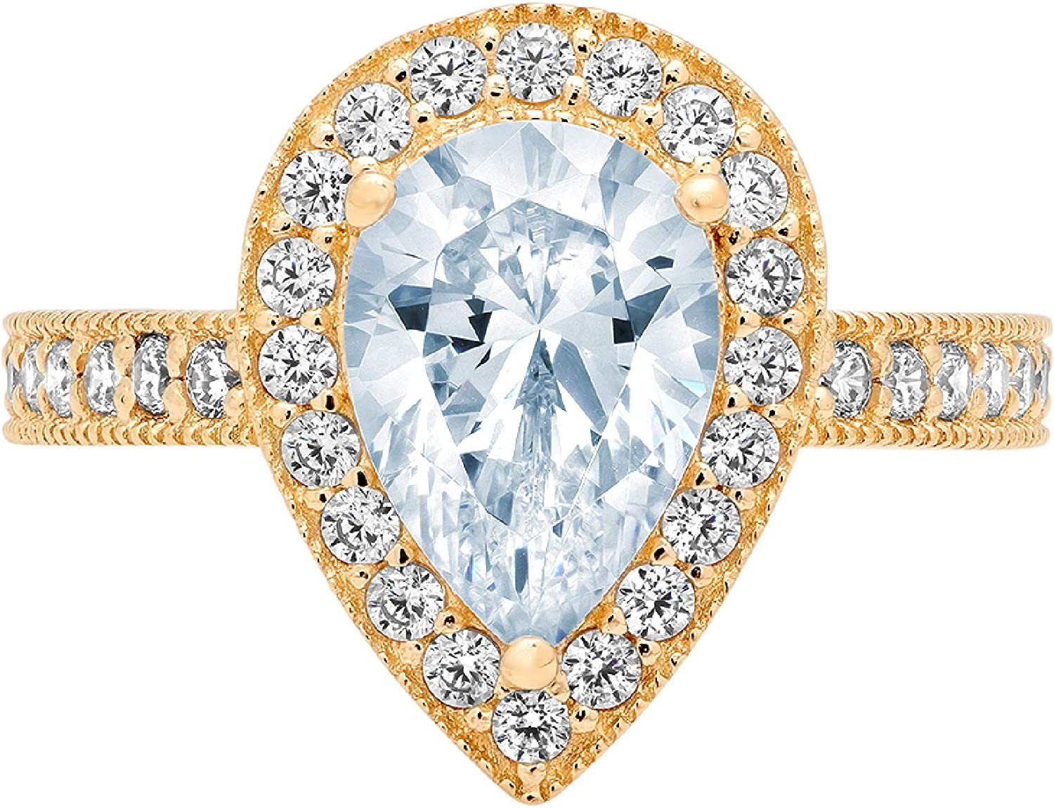 2.01ct Brilliant Pear Cut Solitaire with Accent Halo Natural Topaz Gem Stone Ideal VVS1 Engagement Promise Anniversary Bridal Wedding Ring 14k Yellow Gold