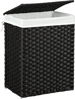 SONGMICS Handwoven Laundry Basket, Synthetic Rattan Clothes Hamper with Lid and Handles, Foldable, Removable Liner Bag, Black ULCB51BK