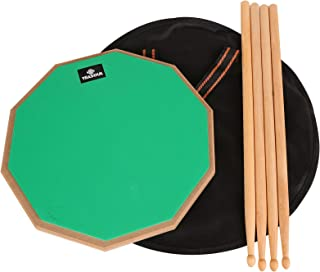12 inch drum pad,double sided drum pads,snare drum pad with drumsticks and storage bag for drum practice beginner (12'', Green)