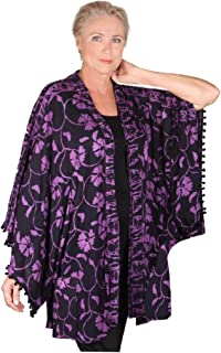 LOTUSTRADERS Lapels Gauzy Batik Pom Poms Artsy Kimono Jacket W199