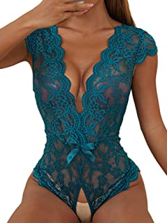 SheIn Women's Floral Lace Scallop Trim Lingerie Bodysuit One Piece Teddy Babydoll