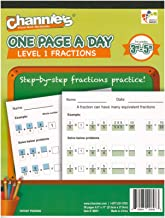 """Channie's One Page A Day Workbook, Beginner Fraction Math Practice Worksheets, 50 Pages Front & Back, 25 Sheets, Grades 3rd, 4th, and 5th, Size 8.5"""" x 11"""""""