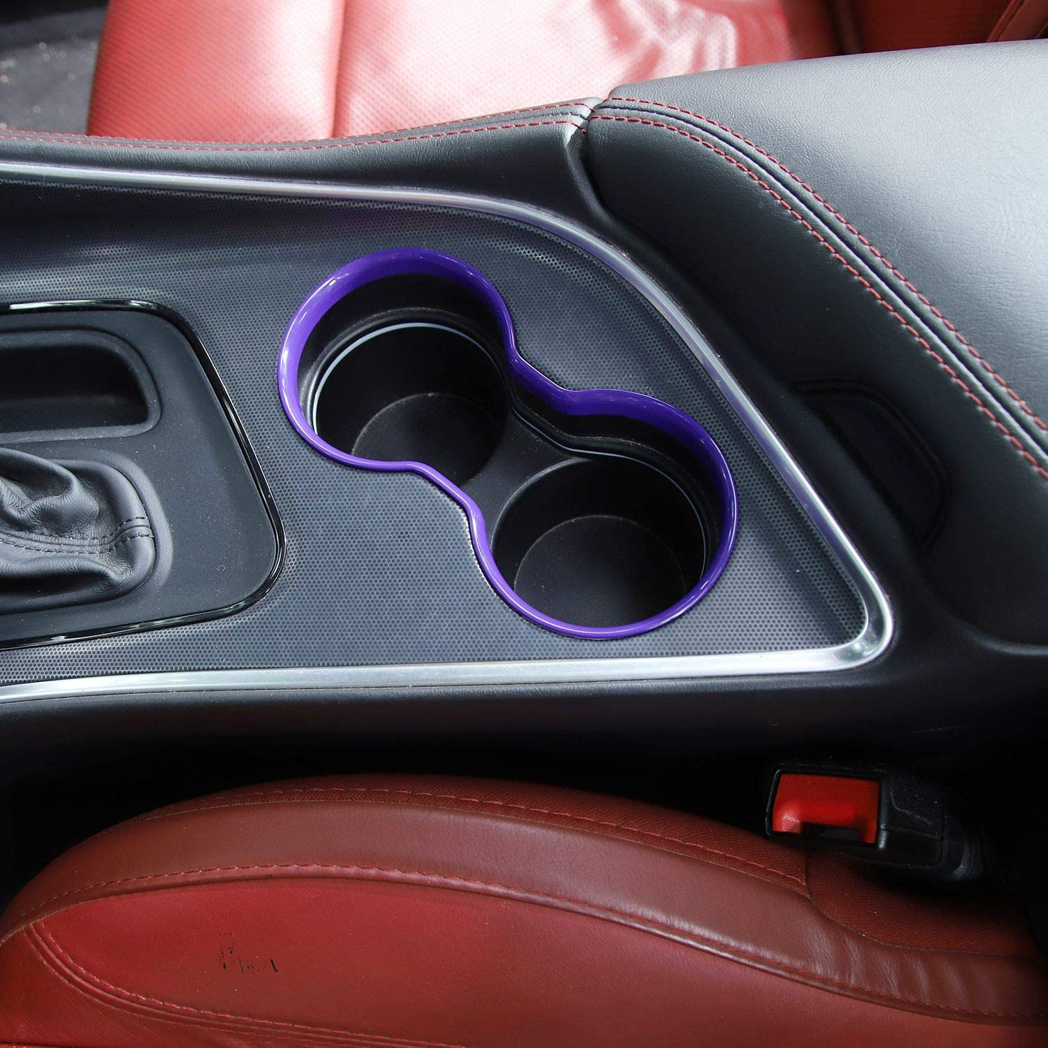 1pc ABS Red Voodonala for Challenger Front Cup Holder Trim for 2015-2020 Dodge Challenger