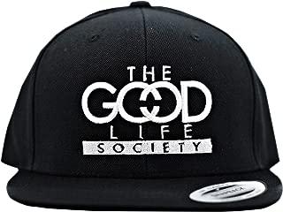 The Good Life Society Snapback Hat Surf Skate Street Trucker Cap for Men Women Medium Profile Flat Bill Adjustable