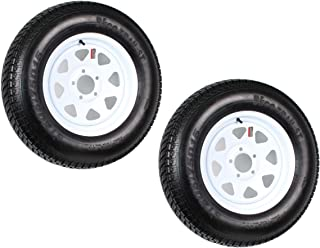 eCustomRim Two Trailer Tires On Rims ST205/75D15 F78-15 205/75-15 LRC 5 Lug White Spoke