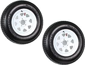 2 Heavy Duty Mounted Trailer Tires Rims ST205/75D15 205 75 15 LRD 5H White Spoke