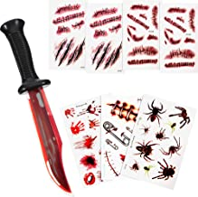 Outus Halloween Bloody Knife Fake Knife with 7 Sheets Scar Tattoo Stickers for Halloween Party Costume (Style A)