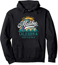 Retro Malibu California Sun Sand Surf Beach Palm Trees Gift Pullover Hoodie