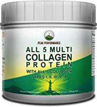 All 5 Multi-Collagen Protein Powder Peptides by Peak Performance. Multi-Collagen Contains All Types I, II, III,V, X. Keto, Paleo Friendly with Hydrolyzed Bovine, Marine, Chicken, Bone Broth Collagens