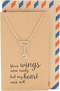 Angel Wing Heart Pendant Necklace, Memorial Jewelry, Gifts for Women, with Inspirational Quote Card