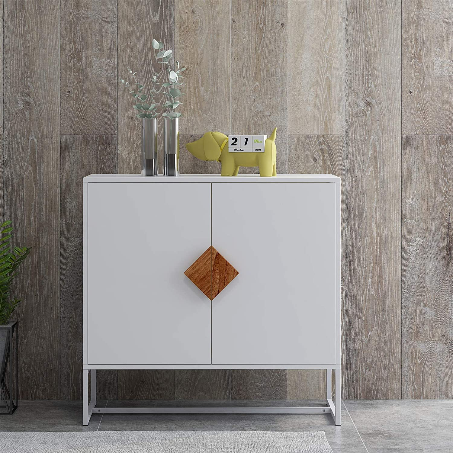 HomVent Storage Cabinet 2 Doors Side Manufacturer OFFicial shop Table with Squa Special price Wood Solid