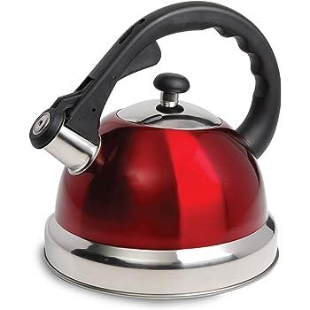 Mr. Coffee 108074.01Claredale Tetera con silbido, 1.61 L, rojo, Rojo, 1.7 Quarts, 1