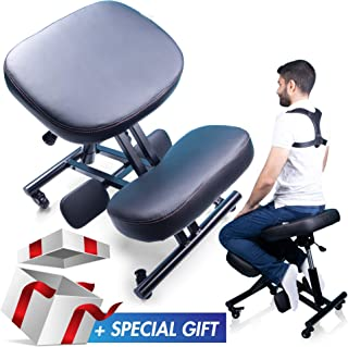 Office Relieving Back and Neck Pain 17.6lb Adjustable Height Posture Corrective Seat Knees Cushions with Wheels for Home POCREATION Ergonomic Kneeling Chair