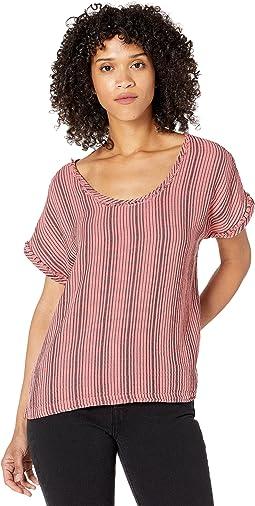 Garment Dye Stripe Gauze Short Dolman Sleeve Top