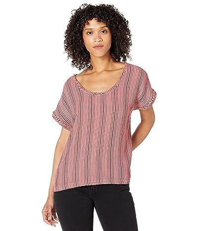 Mod-o-doc Garment Dye Stripe Gauze Short Dolman Sleeve Top