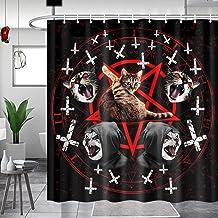 JAWO - Cortina de ducha con diseño de gato satánico, pentagrama de la muerte, de metal negro duradero, cortinas de baño de...