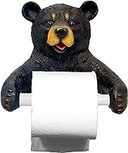 DWK 8-inch Hugo Holder Black Bear Toilet Paper Holder Rustic Woodland Forest Themed Kitchen Bathroom Cabin Decor