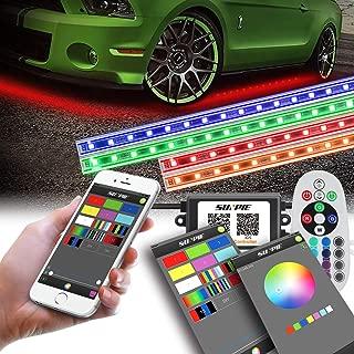 LED Underglow Lighting Kit, Underbody light kit, Under Car Lighting Kit, Multi-Color RGB Strips with Phone APP&Remote&Aluminum Case