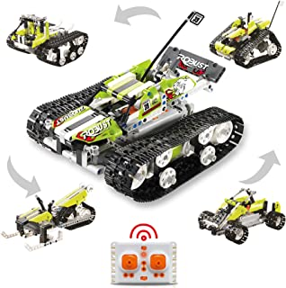 5 in 1 STEM Toys Remote Control Building Sets, 402 PCS RC Engineering Kit Builds Tracked Car, Robot, Tank Kids Toys for Bo...