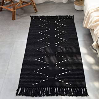 Black Boho Kitchen Rug Cotton Woven, Washable Bathroom Bedroom Flatweave Moroccan Small Rug with Tassel, Accent Neutral Fi...