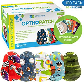 Optho-Patch Kids Eye Patches - Fun Boys Design - 90 + 10 Bonus Latex Free Hypoallergenic Cotton Adhesive Bandages for Amblyopia and Cross Eye - 3 Reward Chart Posters by Defined Vision