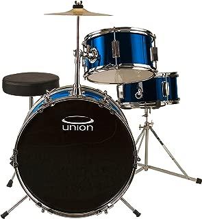 Union DBJ3071(DB) 3-Piece Junior Drum Set with Hardware, Cymbal and Throne - Metallic Dark Blue