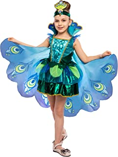 Peacock Dress with Feather Wings and Headband for Girls Halloween Costume and Animal Costumes for Kids