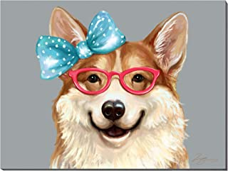 3Hdeko - Cute Dog Painting Pet Corgi Picture Funny Animal Wall Art for Nursery Kids Bedroom Bathroom Living Room Decor, Canvas Prints, Ready to Hang (32x24inch)