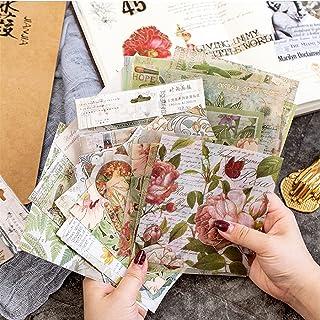 60 Feuilles Scrapbooking Autocollant, Ensemble D'autocollants Scrapbook Plantes Florales Rétro, Papier Scrapbooking Matéri...