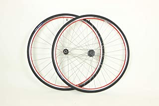XRP Vuelta 700c Colored Track Fixed Gear Fixie Single Speed Bike Wheel Set with 700 x 23c Tires and Tubes Package (Red)
