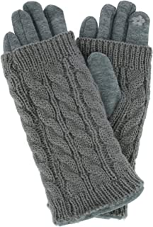 CTM Women's 2 Piece Touch Screen Gloves with Knit Overlay