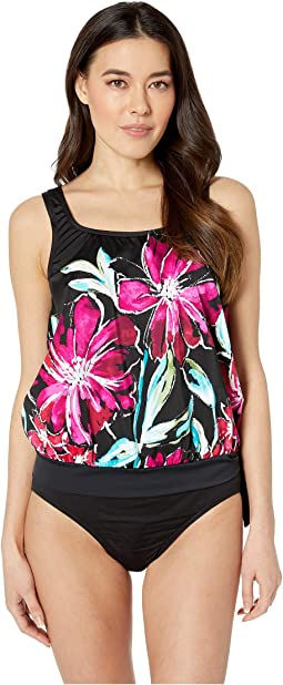 In Full Bloom Banded Scoop Blouson Tankini One-Piece