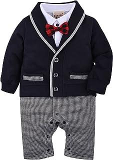 ZOEREA 1pc Baby Boys Tuxedo Gentleman Onesie Romper Jumpsuit Wedding Suit 3-18 M