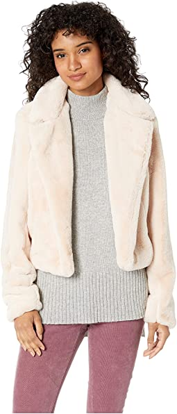 Faux Fur Crop Jacket in Baby Spice