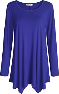 Esenchel Women's Long Sleeve Tunic Top Leggings Flared Shirt