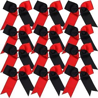 Cheerleading Bow Jumbo Cheer Bows 12 Pcs 7 Inch Ponytail Holder Cheerleader Bows Hair Tie (Red/Black)