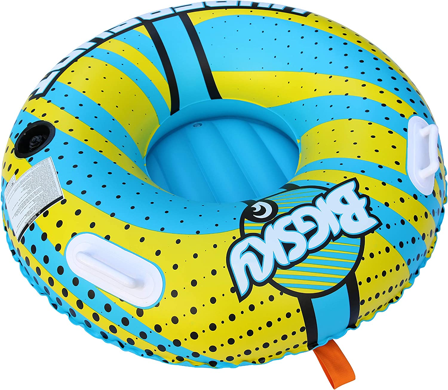 Big Sky Hypershot Towable Tube for 1 Person  Roomy, Durable Boating Tubes for Lake, Beach, River, Snow  Fun Watersports Towables  Quick Inflation and Deflation  One Person Boat Toys and Floats