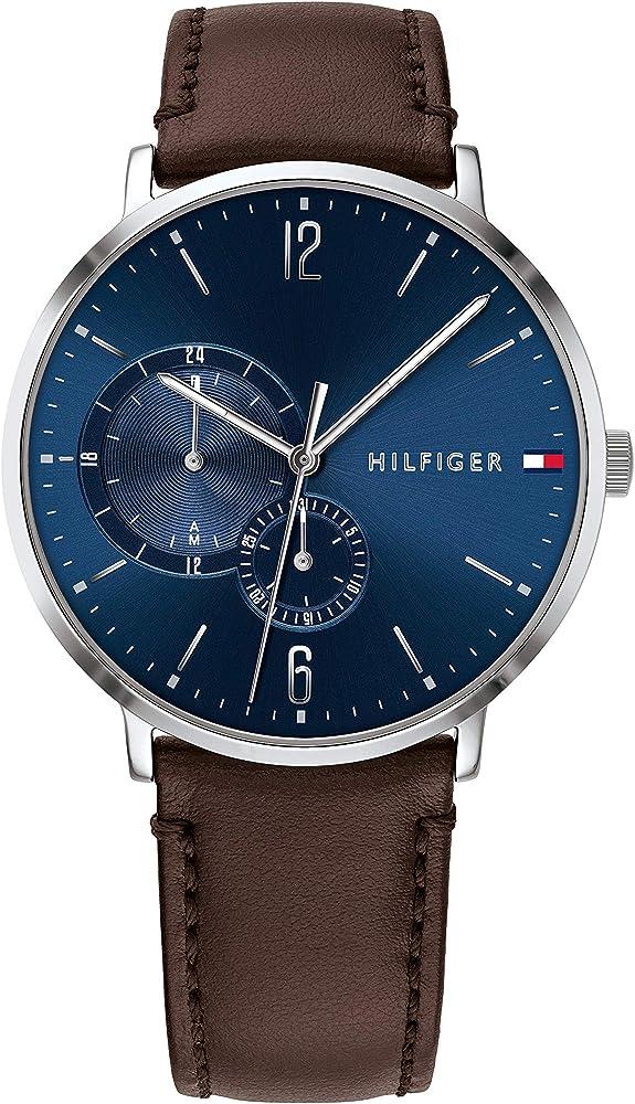 Tommy hilfiger, orologio,cronografo multi-quadrante per uomo,cassa in acciaio e cinturino in pelle 1791508