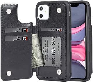 iPhone 11 ケース 手帳型 ワイヤレス充電対応 米軍軍事規格 スマホケース iPhone11 カバー Arae カード収納 ポケット付き アイフォン 11 6.1インチ 対応用 財布型 ケース (ブラック)