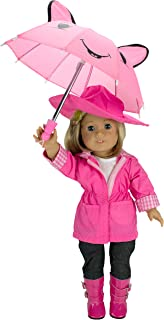 "Dress Along Dolly Rainy Day Doll Outfit for American Girl & 18"" Dolls (6 Piece Set)- Clothes Includes Raincoat, Umbrella, Boots, Hat, & Shirt"