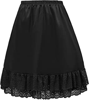 Satin Half Slip Lace Hem Dress Skirt Extender Crinoline Underskirt