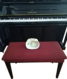 Waterproof Piano Bench Cover Protector - Perfect For Pets, Kids, Elderly, Wedding, Party - Machine Washable, Elastic, Removable,Many Color Choices, Clean the Mess Easily (Wine Red)