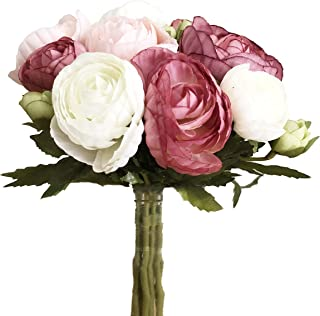 simoce Artificial Flowers 10 Heads Persian Buttercup Crowfoot Ranunculus Wedding Bride Hand Tied Bouquet Home Decoration Silk-Like Lustring Fake Décor Flowers. 7.9H x 6.3W inches.(Rose-Pink)